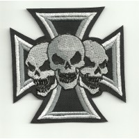 Embroidery Patch MALTESE CROSS 3 CALAVERAS 22cm