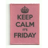 Parche textil y bordado KEEP CALM FRIDAY 7cm x 5cm