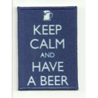 Parche textil y bordado KEEP CALM HAVE A BEER 7cm x 5cm