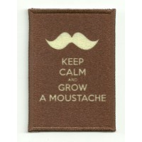 Parche textil y bordado KEEP CALM GROW A MOUSTACHE 7cm x 5cm