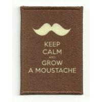 Parche textil y bordado KEEP CALM GROW A MOUSTACHE 7cm x 5cm