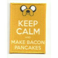 Parche textil y bordado KEEP CALM MAKE BACON 7cm x 5cm