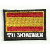 Patch  embroidery YOUR NAME SPAIN FLAG  7,5cm x 5,5cm NAMETAPE