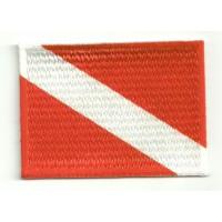 Parche bordado y textil BANDERA ALFA 4cm x 3cm