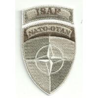 Parche bordado ISAF NATO OTAN ARIDO 5cm x 8,5cm