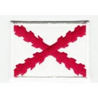 Parche bordado y textil BANDERA CRUZ DE BORGOÑA O CRUZ DE SAN ANDRES 4CM x 3CM