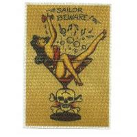 Textile patch SAILOR BEWARE 7,5cm x 10cm