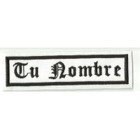 Embroidery Patch BLANCO/NEGRO TU NOMBRE GOTICO 10x2,4cm