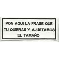 Parche bordado LAS FRASE BLANCO/NEGRO 14cm x 6cm NAMETAPES