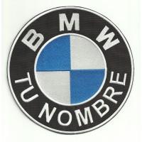 Parche bordado BMW TU NOMBRE LOGO 18cm