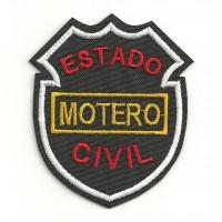 Parche bordado ESTADO CIVIL MOTERO 8cm x 6,5cm