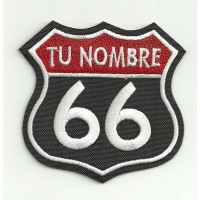 Embroidery Patch CON TU NOMBRE ROUTE 66 7,5cm x 7,5cm