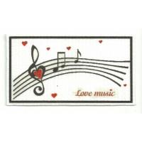 Textile patch MUSICAL NOTES 10cm x 5cm