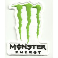 Parche bordado MONSTER ENERGY 3cm x 4cm blanco