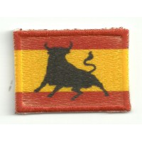 Patch embroidery and textile FLAG SPAIN TORO 4CM X 3CM