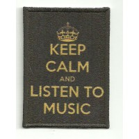 Parche textil y bordado KEEP CALM LISTEN TO MUSIC 7cm x 5cm