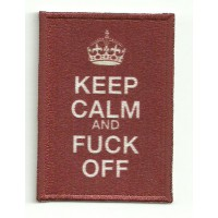 Parche textil y bordado KEEP CALM FUCK OFF 7cm x 5cm
