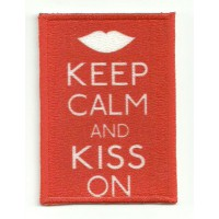 Parche textil y bordado KEEP CALM KISS ON 7cm x 5cm