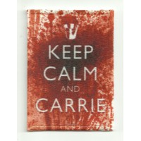 Parche textil y bordado KEEP CALM CARRIE 7cm x 5cm
