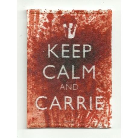 Parche bordado KEEP CALM CARRIE 7cm x 5cm