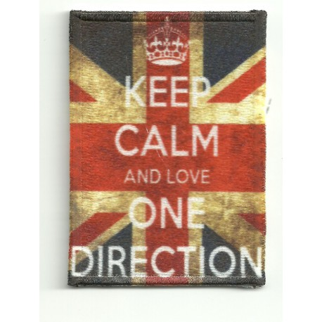 Parche bordado KEEP CALM ONE DIRECTION 7cm x 5cm