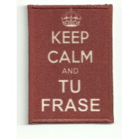 Patch textile and embroidery KEEP CALM TU FRASE 7cm x 5cm