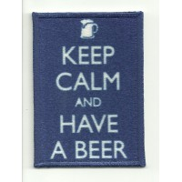 Parche textil y bordado KEEP CALM HAVE A BEER 7cm x 5cm