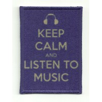 Patch textile and embroidery KEEP CALM LISTEN TO MUSIC 7cm x 5cm