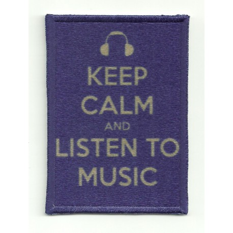 Parche bordado KEEP CALM LISTEN TO MUSIC 7cm x 5cm