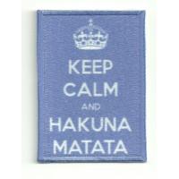 Parche textil y bordado KEEP CALM HAKUNA MATATA 7cm x 5cm