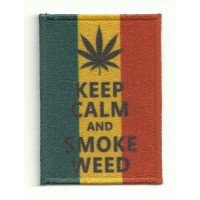 Patch textile and embroidery KEEP CALM SMOKE WEED 7cm x 5cm