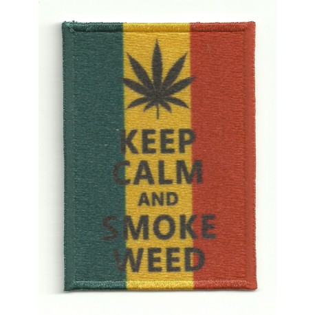 Parche bordado KEEP CALM SMOKE WEED 7cm x 5cm