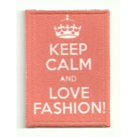 Parche textil y bordado KEEP CALM LOVE FASHION 7cm x 5cm
