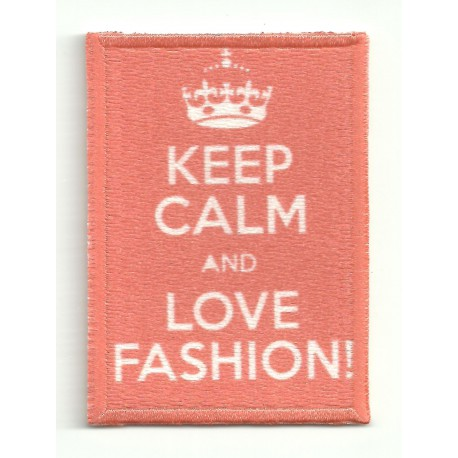 Parche bordado KEEP CALM LOVE FASHION 7cm x 5cm