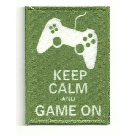 Parche bordado KEEP CALM GAME ON 7cm x 5cm