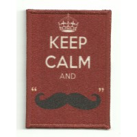 Patch textile and embroidery KEEP CALM IMAGEN MOUSTACHE 7cm x 5cm