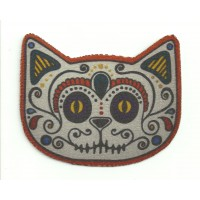 Textile patch GATO CALAVERA MEJICANA 8cm x 6cm