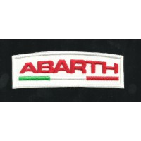 Patch embroidery ABARTH BLANCO Y ROJO 9cm x 3cm