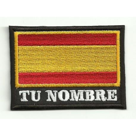 Parche bordado TU NOMBRE BANDERA ESPANA 7,5cm x 5,5cm NAMETAPE
