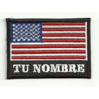 Patch embroidery YOUR NAME USA FLAG 7,5cm x 5,5cm NAMETAPE
