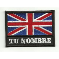 Patch embroidery YOUR NAME UNITED KINGDOM FLAG 7,5cm x 5,5cm NAMETAPE