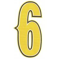 Parche bordado NUMERO 6 6,5cm x 12,5cm