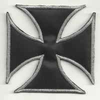 Parche bordado CRUZ DE MALTA NEGRA 8cm