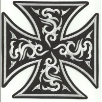 embroidery patch MALTESE CROSS TATTOO BLACK 15cm