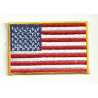 Patch USA flag, WITH YELLOW OUTSIDE 4cm x 3cm