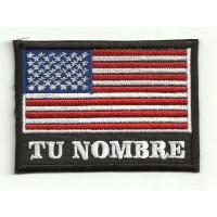 Parche bordado TU NOMBRE BANDERA USA 4,5cm X 3,3cm NAMETAPE