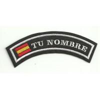 Parche bordado CON TU NOMBRE ARRIBA BANDERA 5,5cm x 2cm NAMETAPE