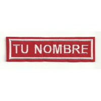 Embroidered patch NAMETAPE RED / WHITE YOUR NAME 5cm x 1,2cm