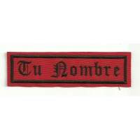 Embroidery Patch RED / BLACK YOUR NAME GOTHIC 5cm x 1,2cm