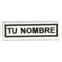 Embroidery Patch BLANCO/NEGRO TU NOMBRE 5cm x 1,2cm NAMETAPE